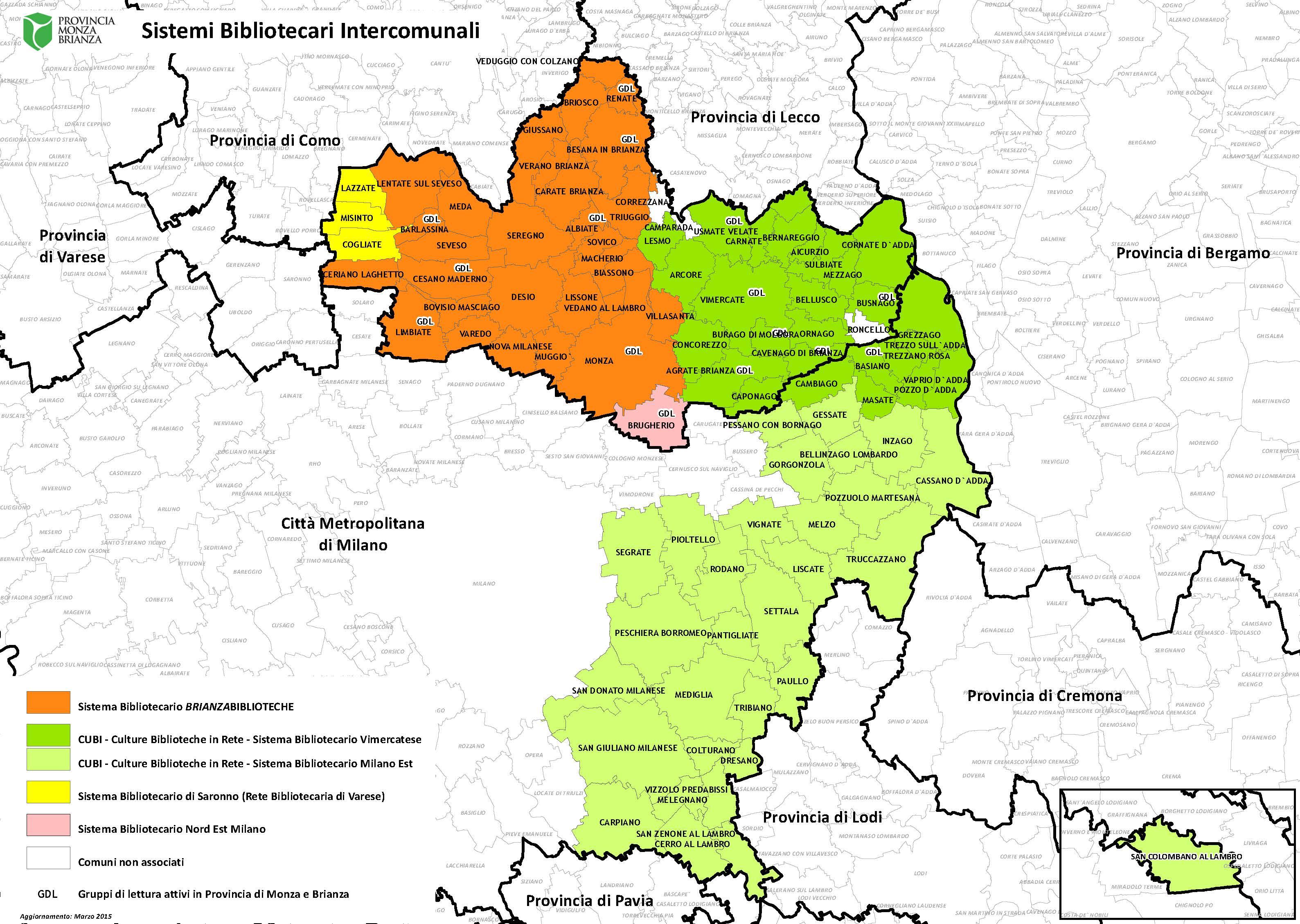Cartina Brianza Lombardia.Mappa Sistemi Bibliotecari